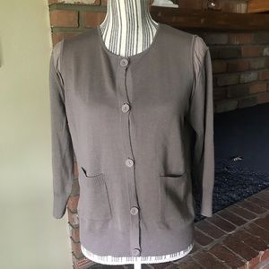 St. John Brown Wool & Silk Cardigan Sz M